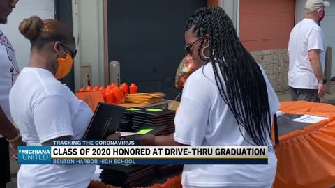 Drive-thru graduation held for seniors at Benton Harbor High...